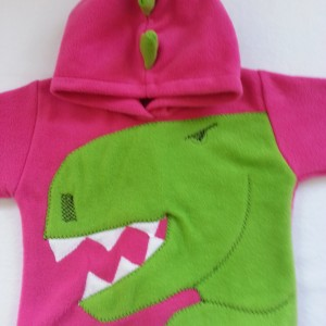 Pink t-rex hoodie Alfie and Alice